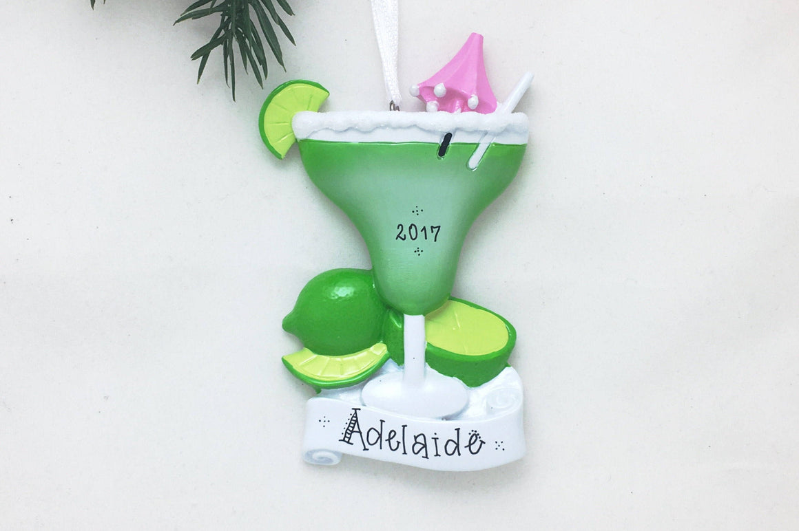 Margarita with Salt Personalized Christmas Ornament