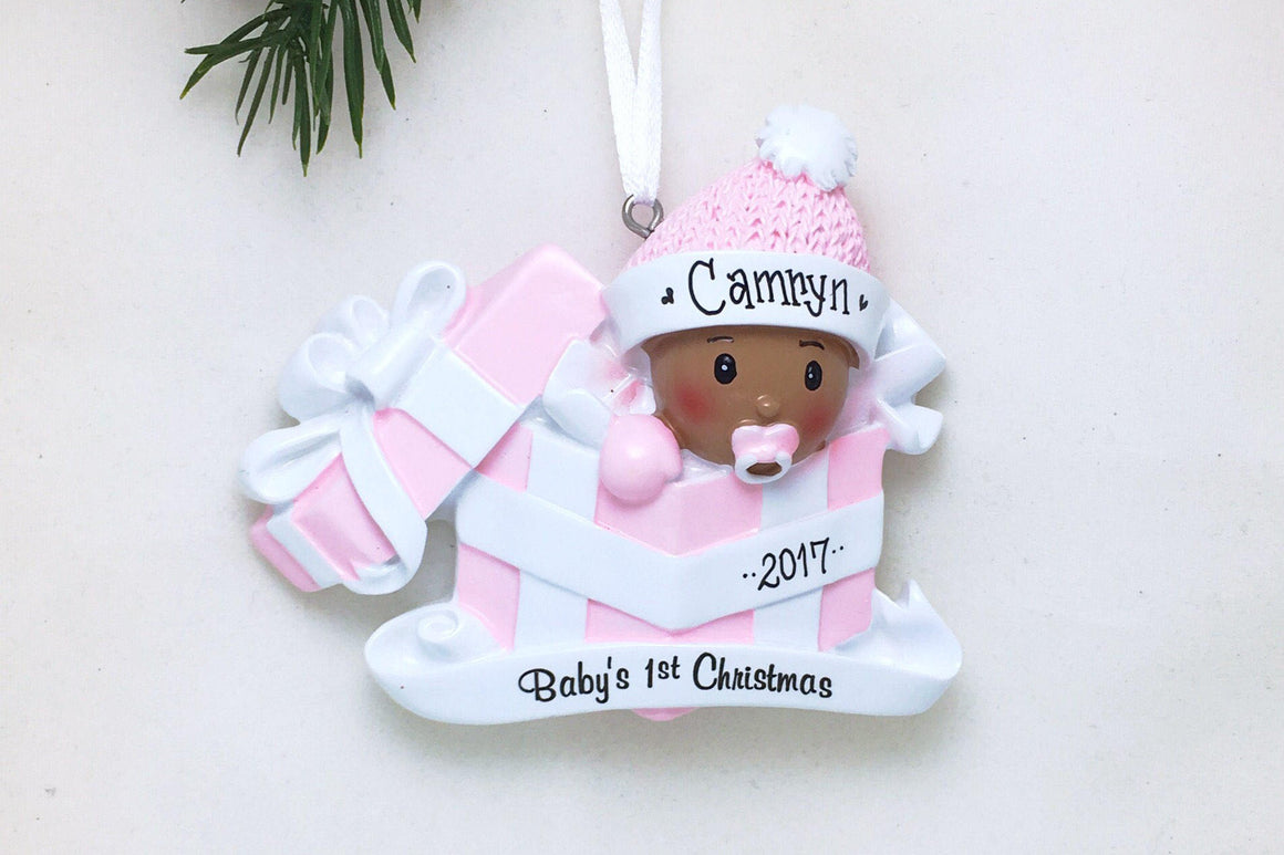 Baby Girl in Pink Present Personalized Christmas Ornament / African American Baby's First