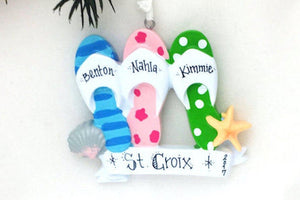 3 Flip Flops Personalized Christmas Ornament