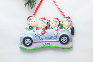 Family of 4 Road Trip Personalized Christmas Ornament