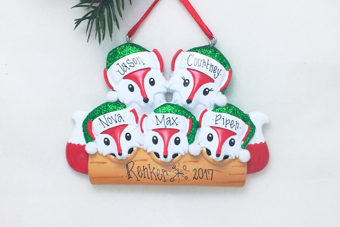 5 Red Foxes Personalized Christmas Ornament