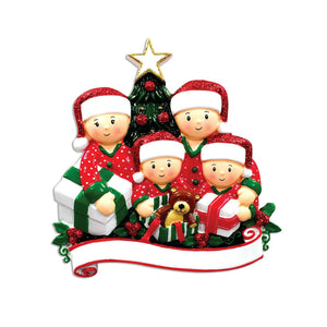 Family of 4 Opening Presents Personalized Christmas Ornament