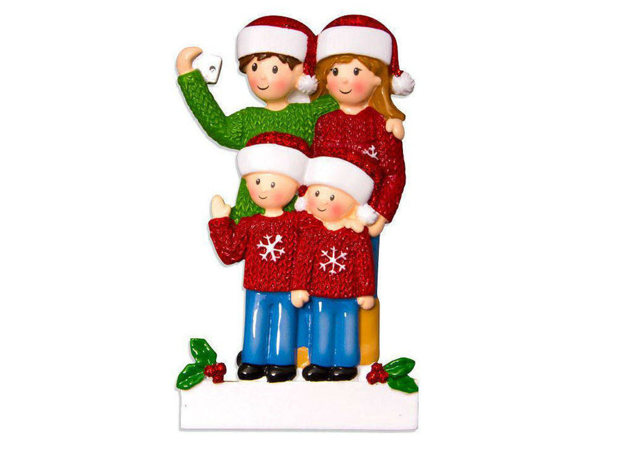 4 Selfie Family Ornament / Personalized Christmas Ornament