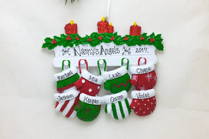 8 Red and Green Mittens Personalized Christmas Ornament