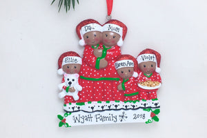 African American Family of 5 in Matching Pajamas Personalized Christmas Ornament