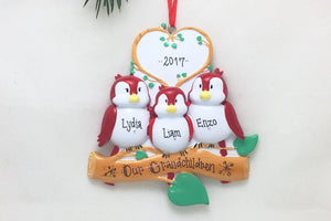 3 Red Birds Personalized Christmas Ornament