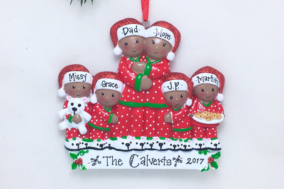 African American Family of 6 in Matching Pajamas Personalized Christmas Ornament