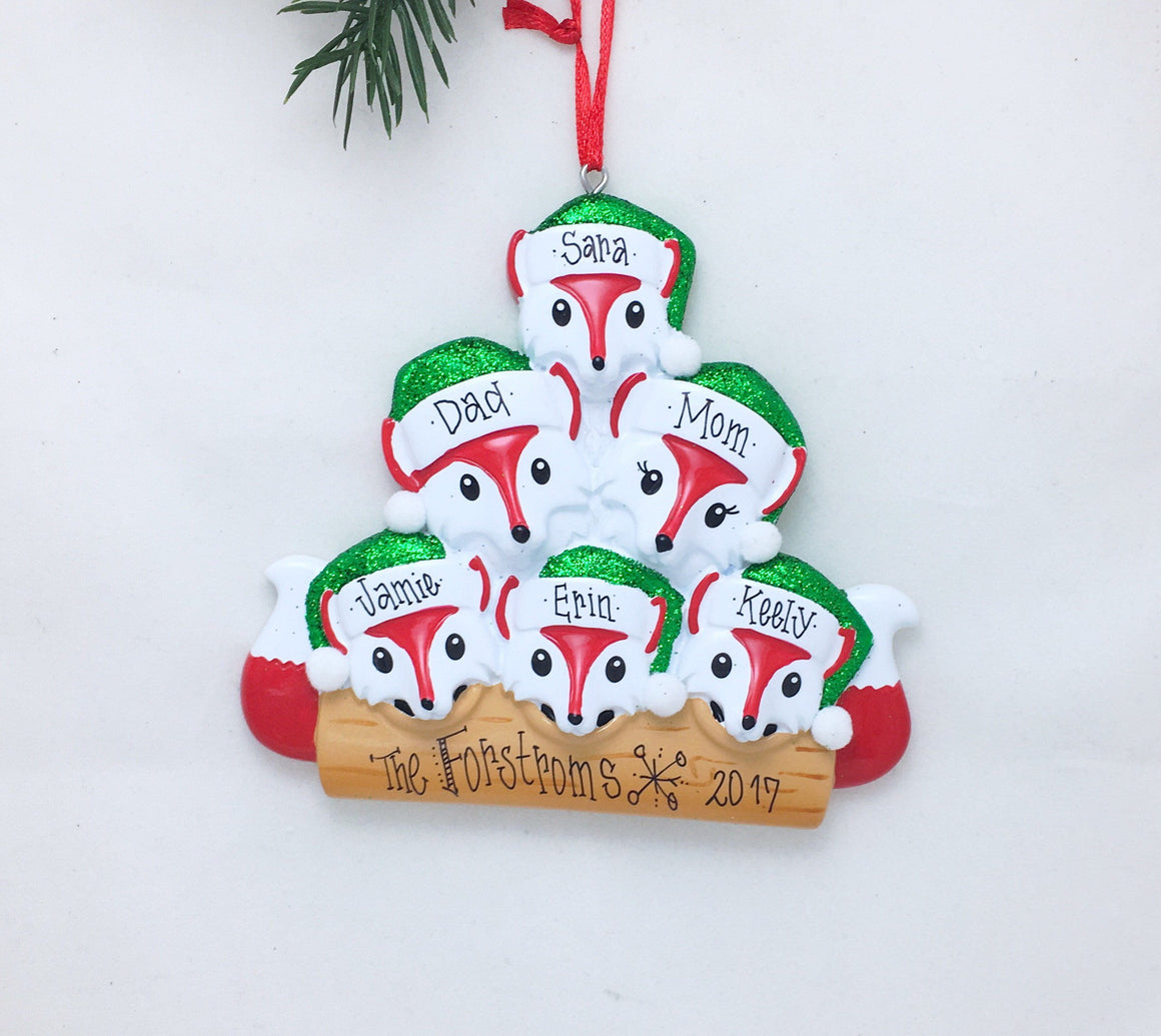 6 Red Foxes Personalized Christmas Ornament