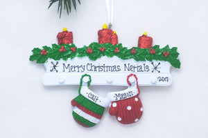 2 Red and Green Mittens Personalized Christmas Ornament
