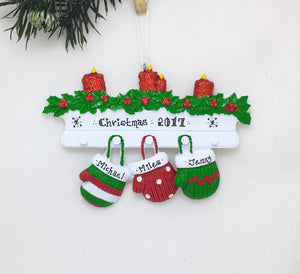 3 Red and Green Mittens Personalized Christmas Ornament