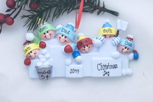 6 Happy People in a Snowball Fight Personalized Christmas Ornament