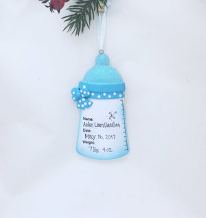 Baby's Firs Christmas Personalized Christmas Ornament / Blue Baby Bottle with Name, Date, Weight