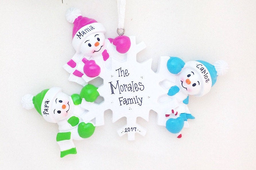 3 Snowmen and Snowflake Personalized Christmas Ornament