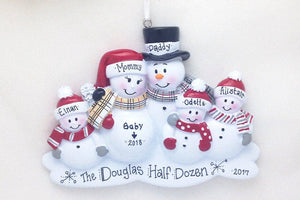 New Baby Makes Six Personalized Christmas Ornament