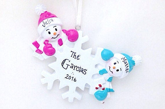 2 Snowmen and Snowflake Personalized Christmas Ornament