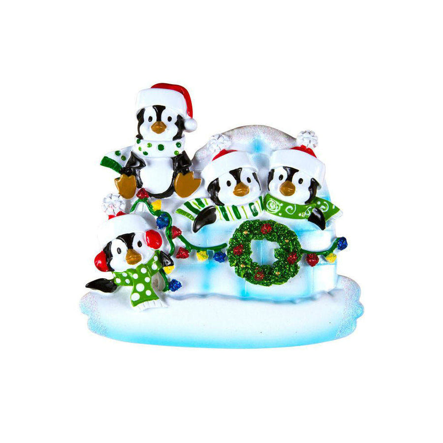 4 Penguins in an Igloo Personalized Christmas Ornament