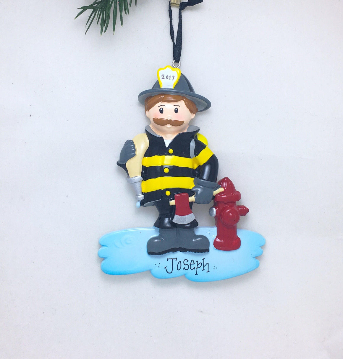 Firefighter with Mustache Personalized Ornament / Fireman Ornament / Christmas Ornament / Child Gift / Toddler Gift / Gift for kids