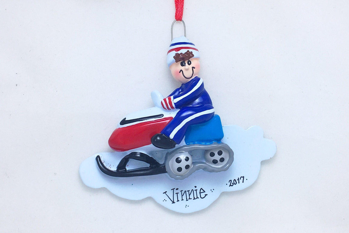 Red Snowmobile Personalized Christmas Ornament / Snowmobile Ornament / Snowmobiling Ornament / Personalized Name or Message