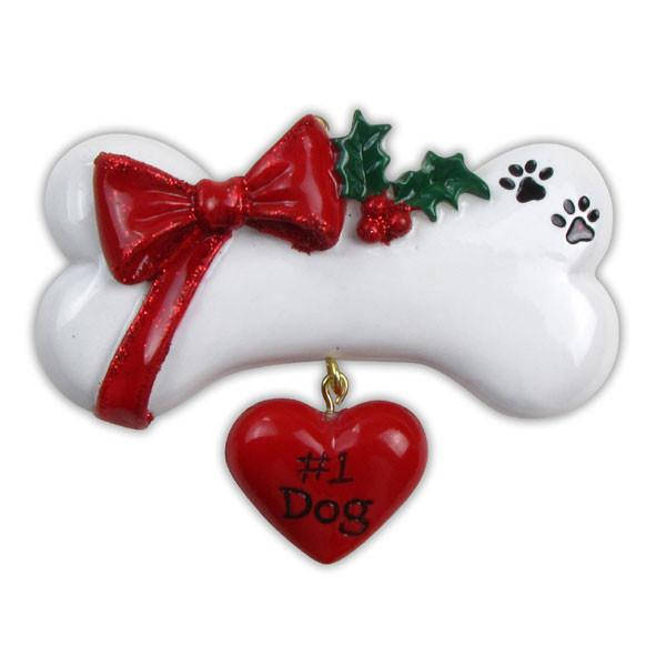 Dog Personalized Christmas Ornament / Dog Bone with Heart, Ribbon, and Holly / #1 Dog / New Puppy / Dog Gift / Gift for Dogs