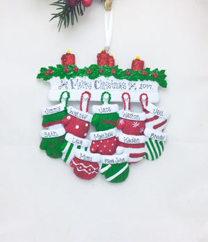 12 Red and Green Mittens Personalized Christmas Ornament