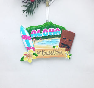 Hawaii Personalized Christmas Ornament
