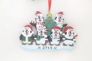Family of 6 Penguins with a Christmas Tree Personalized Ornament