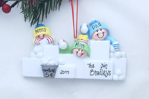 3 Happy People in a Snowball Fight Personalized Christmas Ornament