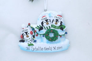 3 Penguins in an Igloo Personalized Christmas Ornament