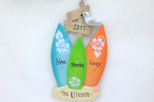 3 Surfboards Personalized Christmas Ornament