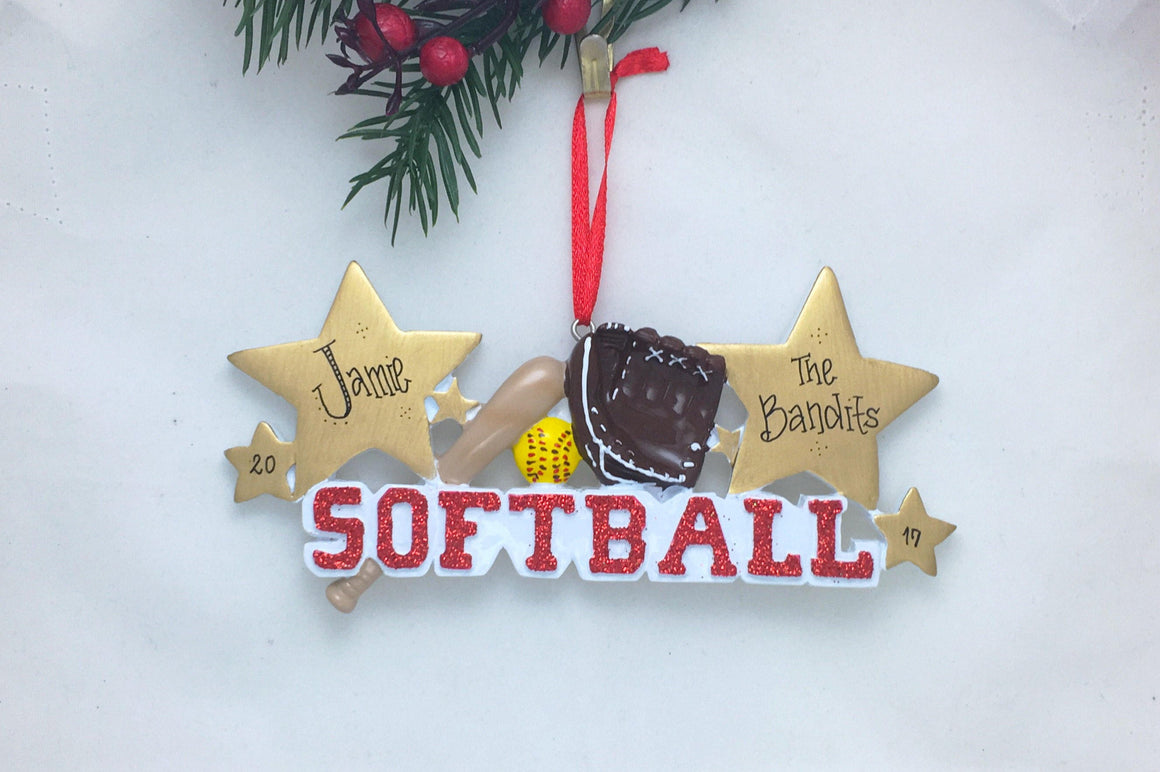 Softball Christmas Ornament / Personalized Christmas Ornament / Softball Ornament / Softball Player / Hand Personalized