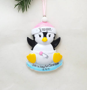 Baby Girl Penguin Personalized Christmas Ornament / Pink / Baby's First