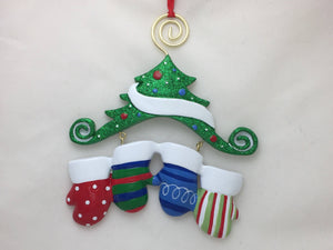 4 Christmas Mittens on a Tree Personalized Ornament