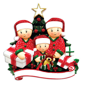 Family of 3 Opening Presents Personalized Christmas Ornament