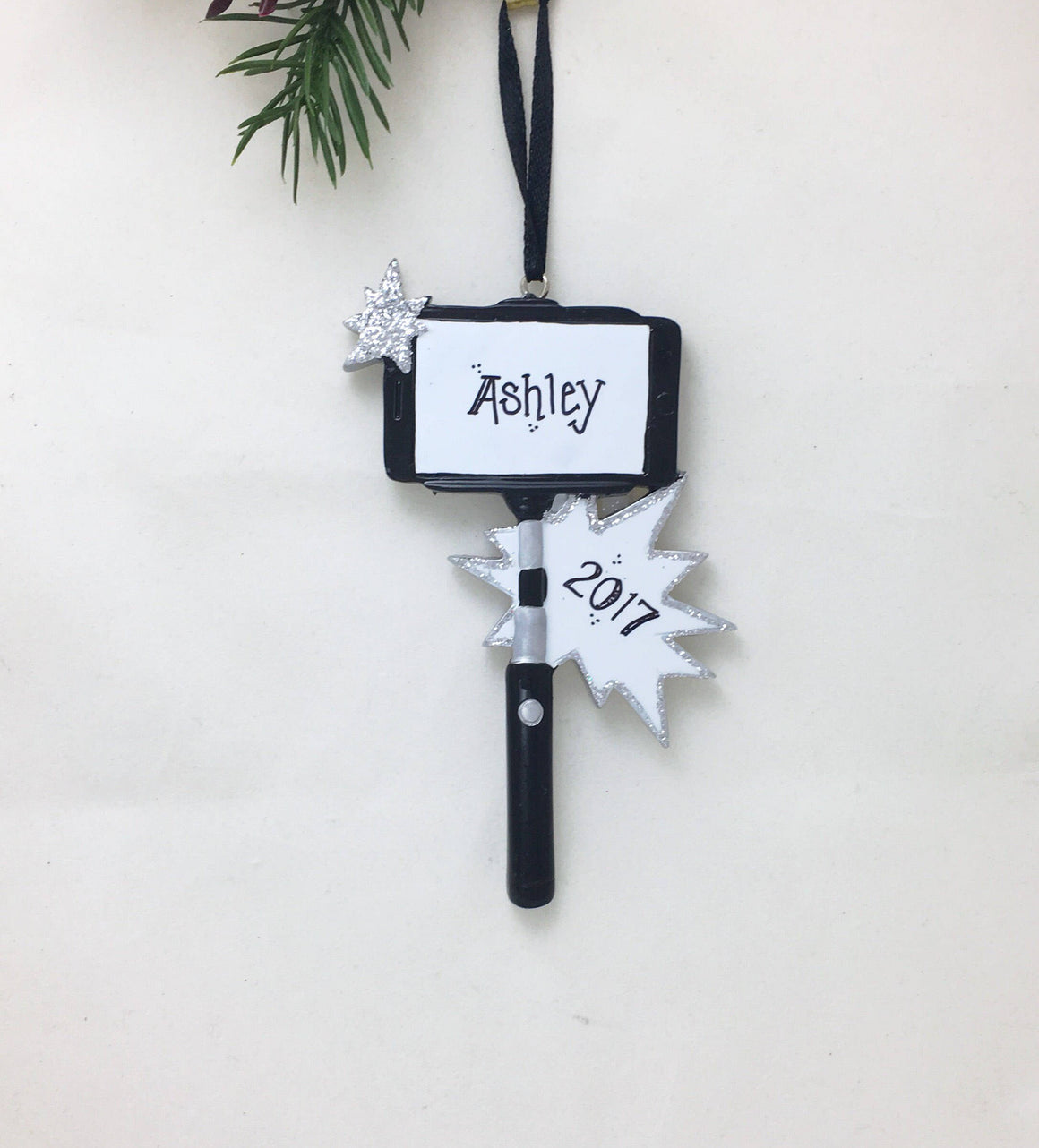 Selfie Stick Personalized Christmas Ornament / Selfie Ornament / Hand Personalized Name and Message