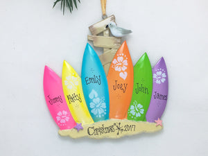 6 Surfboards Personalized Christmas Ornament