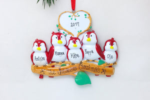 5 Red Birds Personalized Christmas Ornament