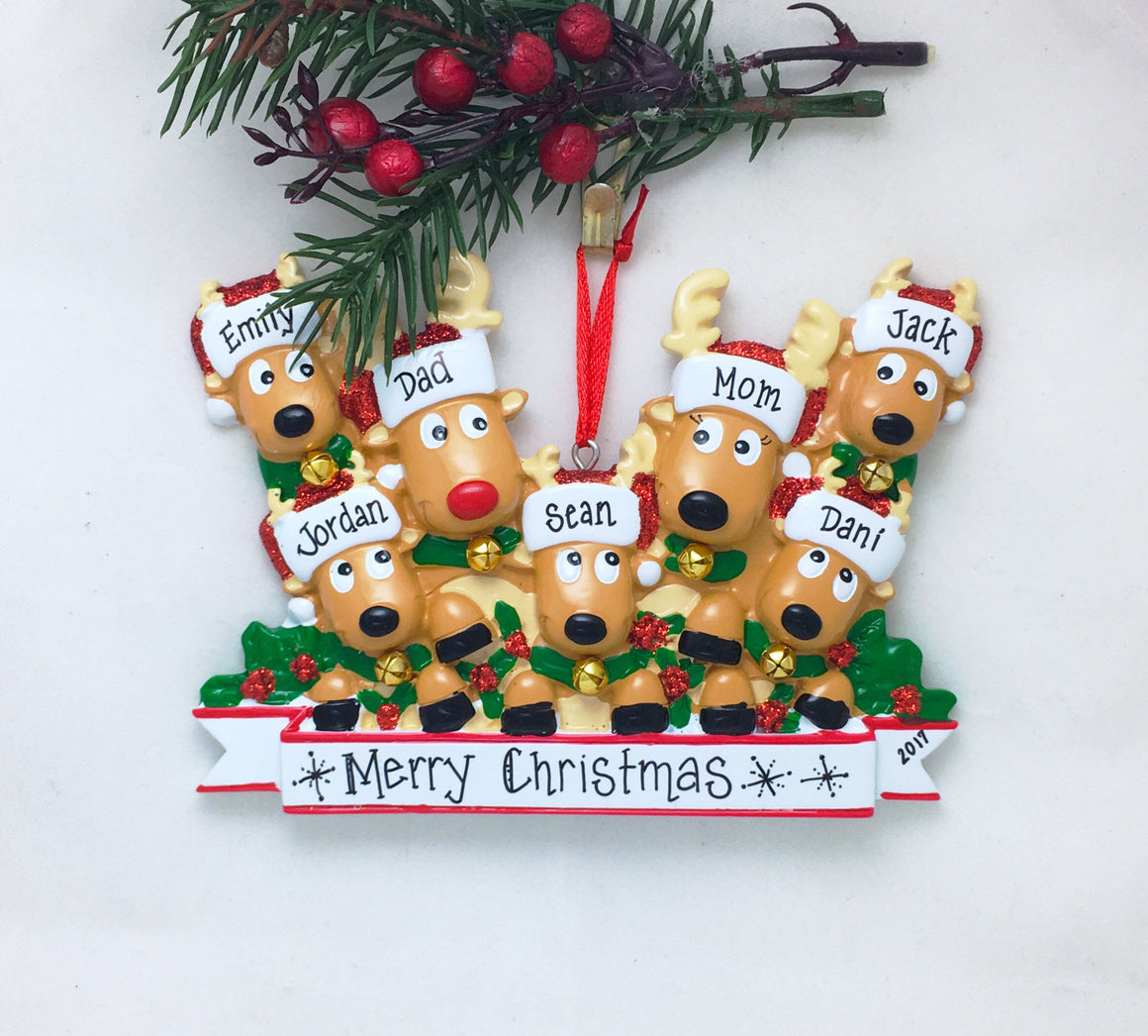 7 Reindeer with Bells Personalized Christmas Ornament
