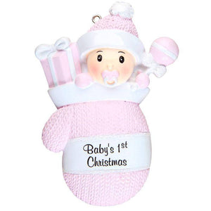 Baby Girl in Pink Mitten Personalized Christmas Ornament / Baby's First