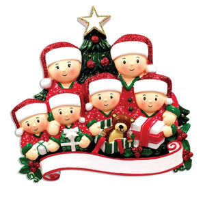 Family of 6 Opening Presents Personalized Christmas Ornament