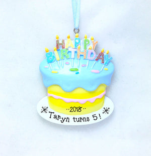 Birthday Cake Personalized Christmas Ornament / First Birthday Ornament / Birthday Ornament / Hand Personalized