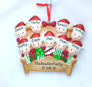 9 Tucked into Bed Personalized Christmas Ornament