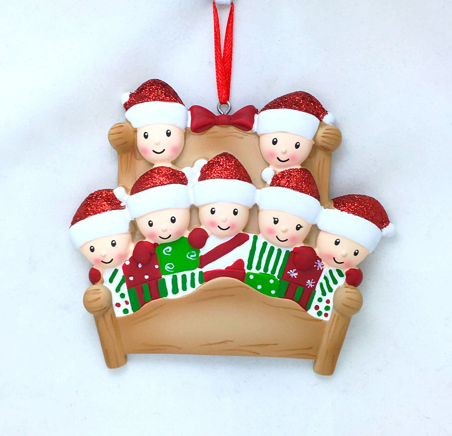 7 Tucked into Bed Personalized Christmas Ornament