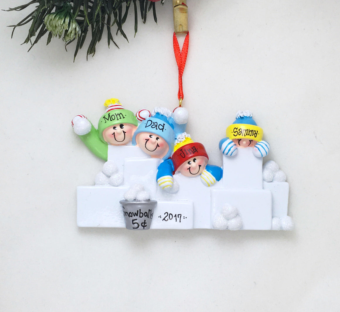 4 Happy People in a Snowball Fight Personalized Christmas Ornament