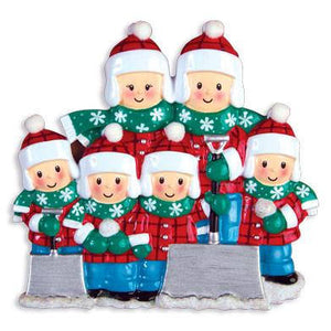 Family of 6 Shoveling Snow Personalized Christmas Ornament