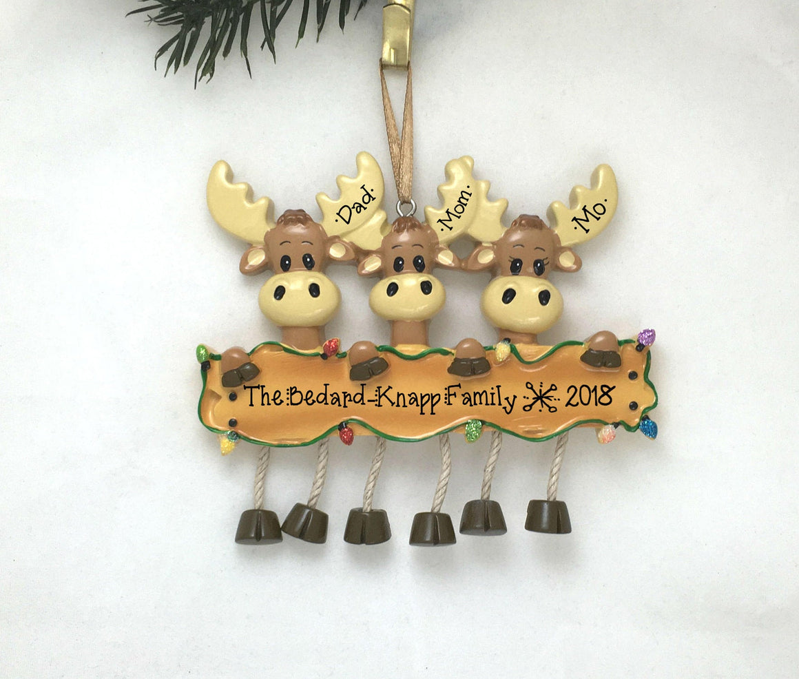 3 Moose Personalized Christmas Ornament