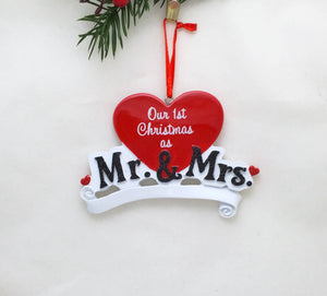 Mr. and Mrs. Personalized Christmas Ornament / Wedding Ornament / Our First Christmas