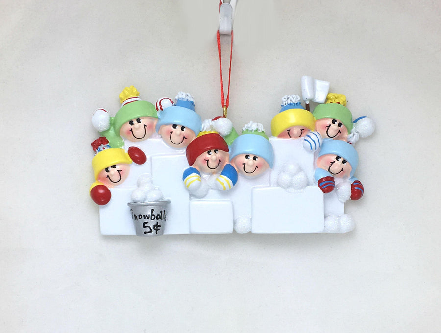 8 Happy People in a Snowball Fight Personalized Christmas Ornament