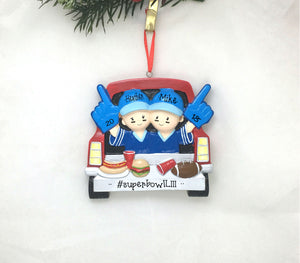 Tailgating Couple Personalized Christmas Ornament / Football Tailgate Ornament