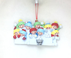 10 Happy People in a Snowball Fight Personalized Christmas Ornament
