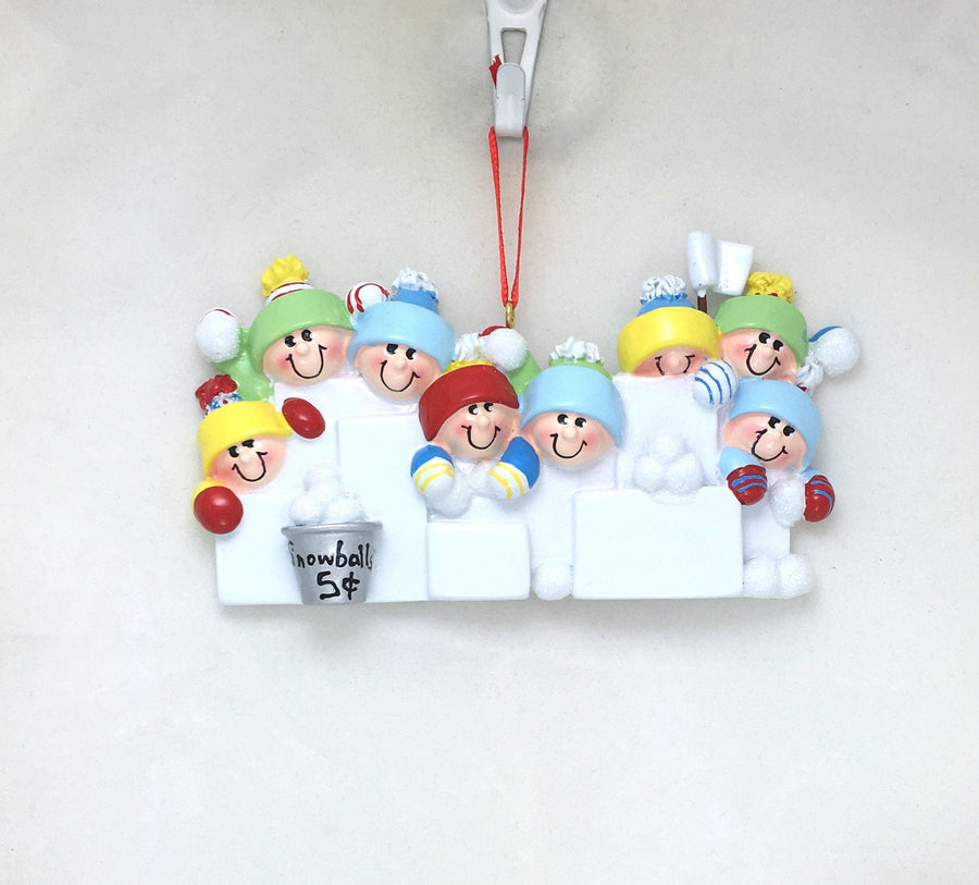 7 Happy People in a Snowball Fight Personalized Christmas Ornament